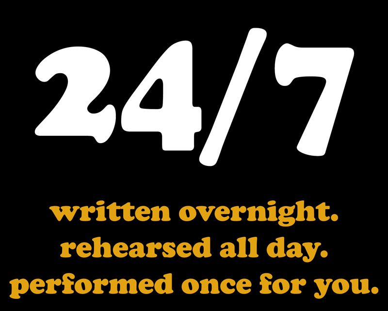 24-7 written overnight. rehearsed all day. performed once for you.