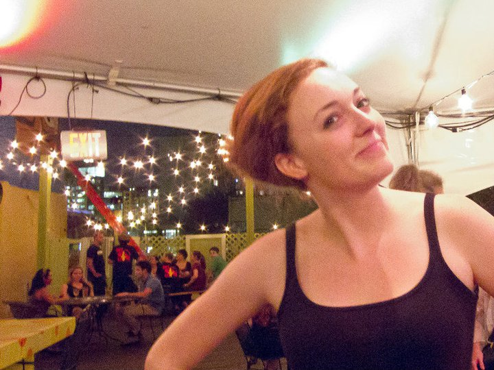 Addie in the Capital Fringe Tent. Photo by Bud Branch.